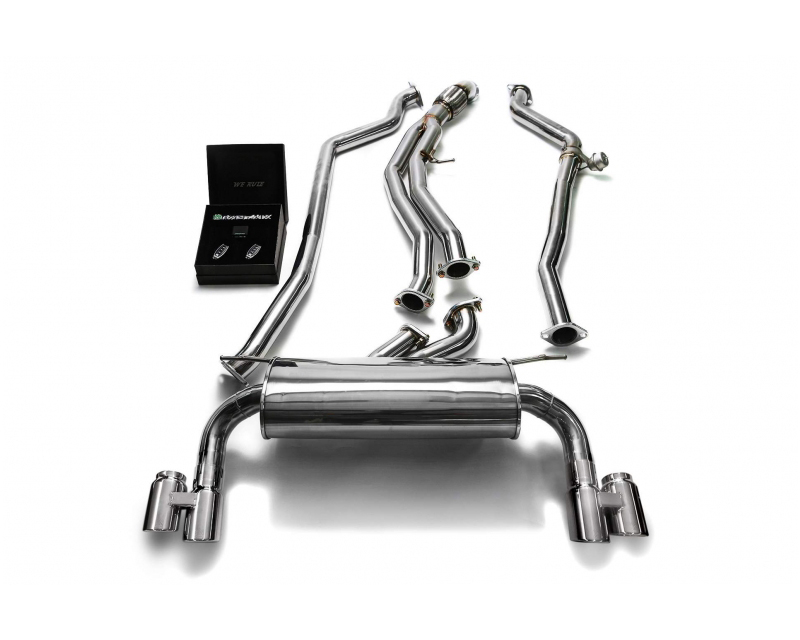 ARMYTRIX Stainless Steel Valvetronic Catback Exhaust System Quad Chrome Silver Tips BMW M135i | M235i F2x 12-15 - BMF23-QS42C