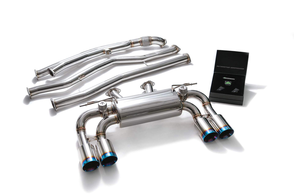 ARMYTRIX Stainless Steel Valvetronic Catback Exhaust System Quad Blue Coated Tips BMW M2 F87 2016-2021 - BMF87-QS38B