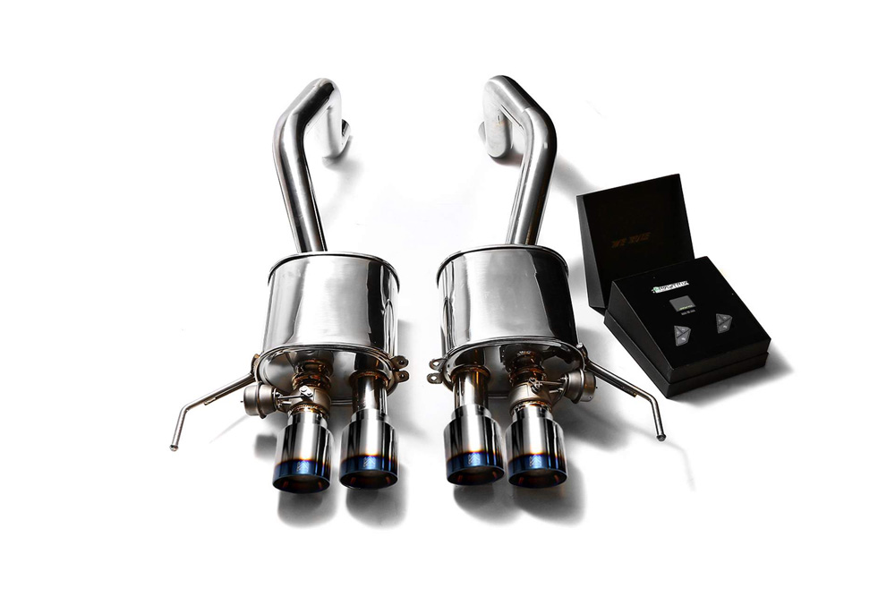 ARMYTRIX Stainless Steel Valvetronic Catback Exhaust System Quad Blue Coated Tips Chevrolet Corvette C7 14-19 - CZ6C7-QS28B