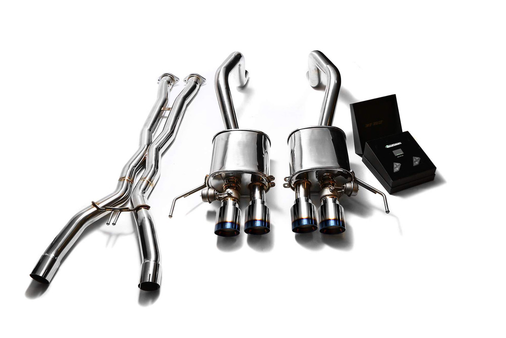 ARMYTRIX Stainless Steel Valvetronic Catback Exhaust System w/X-Pipe | Quad Blue Coated Tips Chevrolet Corvette C7 14-19 - CZ6C7-X+CZ6C7-QS28B