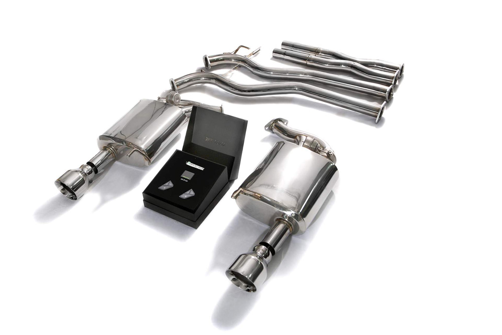 ARMYTRIX Stainless Steel Valvetronic Catback Exhaust System Dual Chrome Silver Tips Ford Mustang GT Coyote 5.0L V8 2015-2020 - FDM65-DS33C