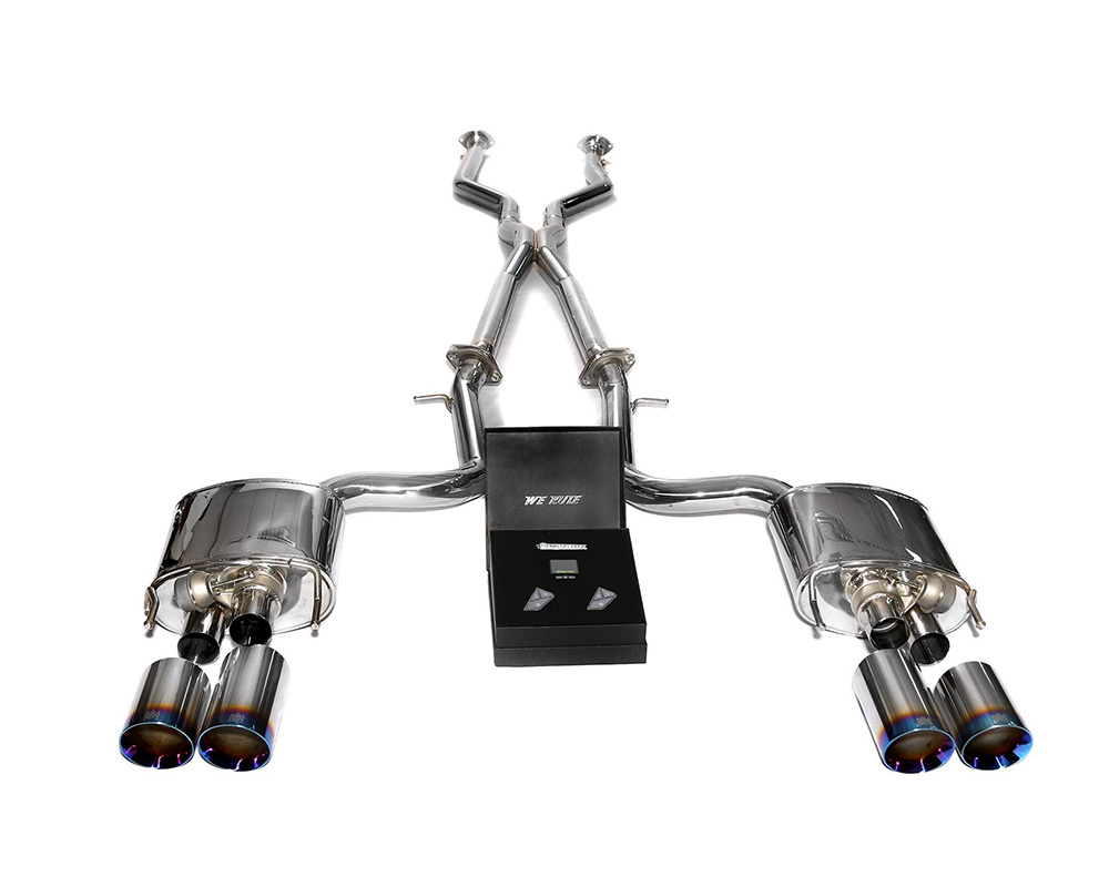 ARMYTRIX Stainless Steel Valvetronic Header Back Exhaust System Quad Blue Coated Tips Lexus RC-F 5.0L V8 15-19 - LXRCF-QS3840B
