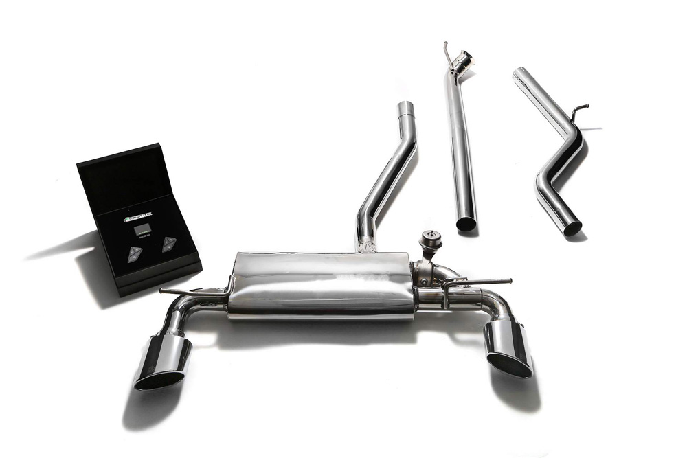 ARMYTRIX Stainless Steel Valvetronic Catback Exhaust System Dual Chrome Silver Tips Mercedes-Benz A-Class W176 2WD 13-15 - MBA25-DS18C