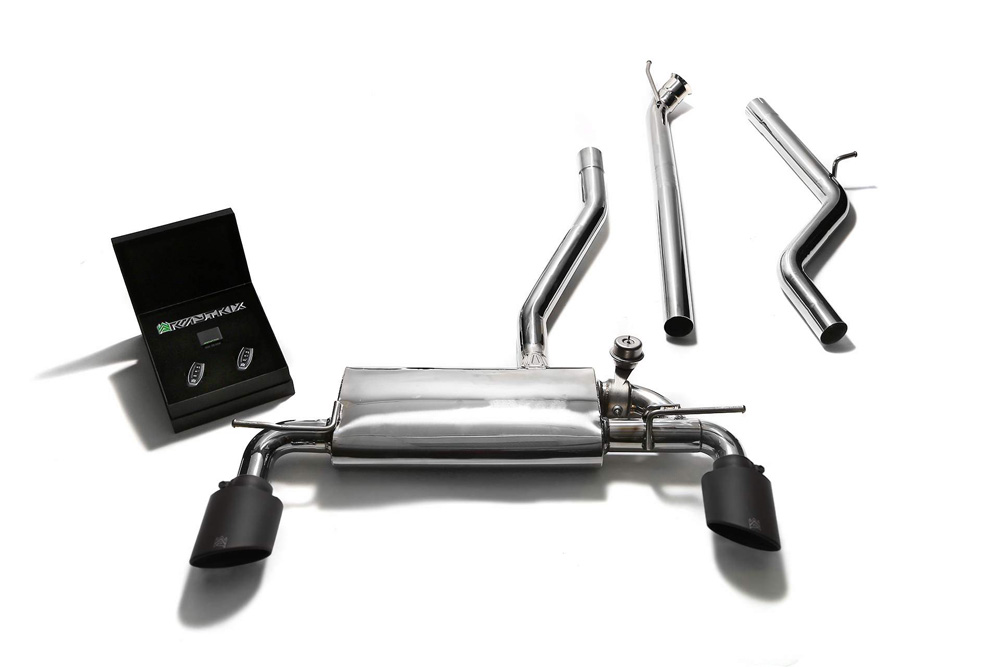 ARMYTRIX Stainless Steel Valvetronic Catback Exhaust System Dual Matte Black Tips Mercedes-Benz A-Class W176 2WD 13-15 - MBA25-DS18M