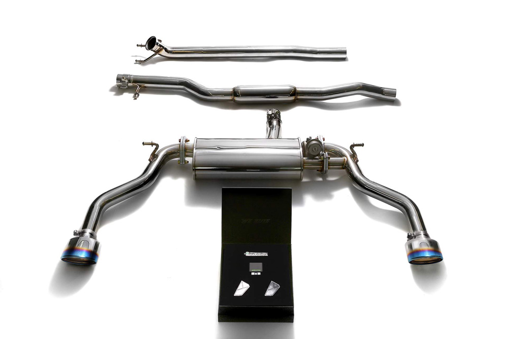 ARMYTRIX Stainless Steel Valvetronic Catback Exhaust System Dual Blue Coated Tips Mercedes-Benz CLA250 4WD C117 14-18 - MBL24-DS19B