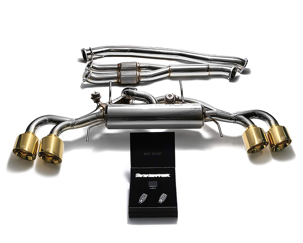 ARMYTRIX Stainless Steel Valvetronic Catback Exhaust 90mm System w/Race Y-Pipe | Quad Gold Tips Nissan GT-R R35 09-19 - NI35S-AF NI35S-QS12G