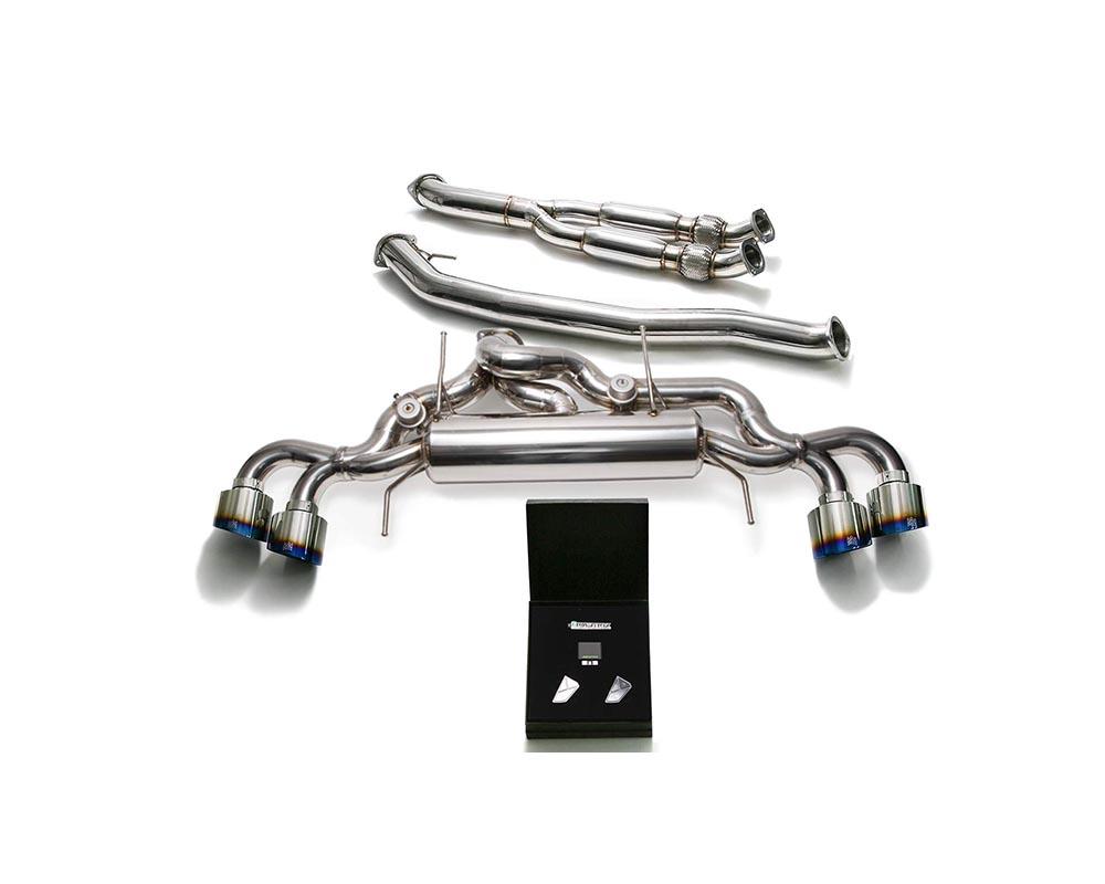 ARMYTRIX Stainless Steel Valvetronic Catback Exhaust 102mm System Quad Titanium Blue Tips Nissan GT-R R35 09-19 - NI35S-BF NI35S-BQS12B