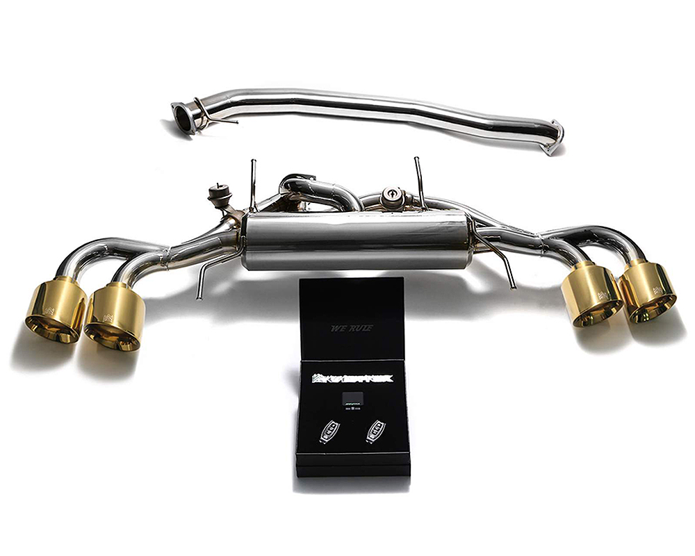 ARMYTRIX Stainless Steel Valvetronic Catback Exhaust System 90mm Quad Gold Tips Nissan GT-R R35 09-19 - NI35S-QS12G