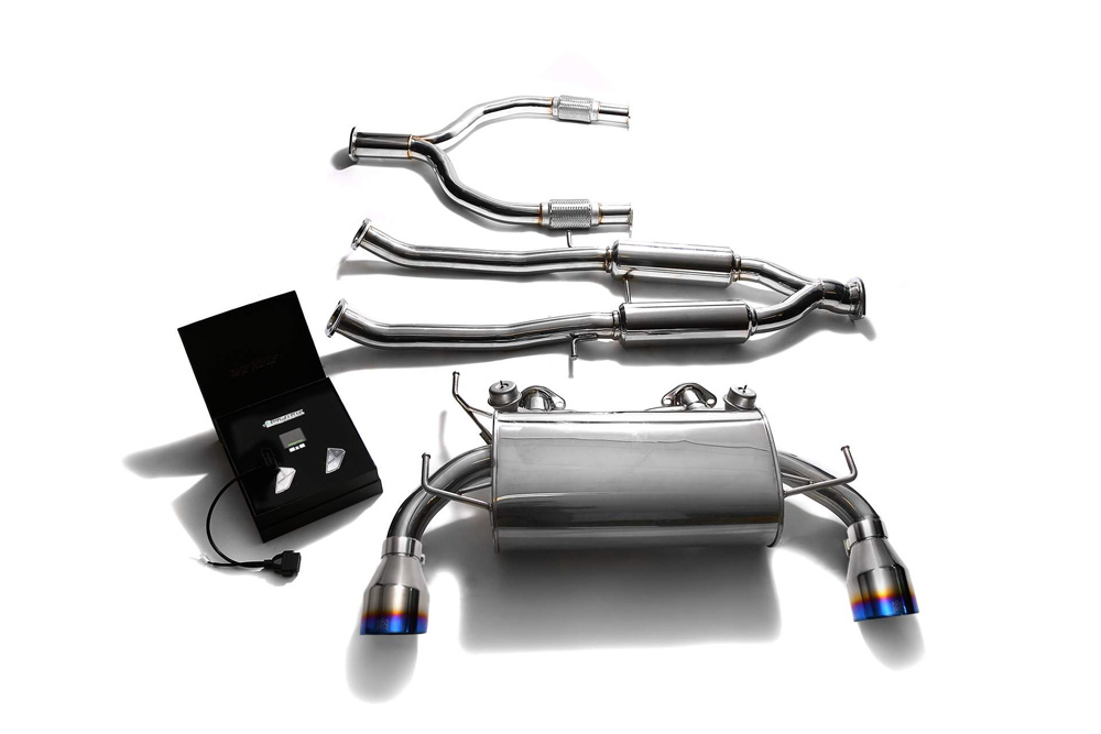 ARMYTRIX Stainless Steel Valvetronic Catback Exhaust Dual Blue Coated Tips Nissan 370Z 2009-2020 - NIZ37-DS13B