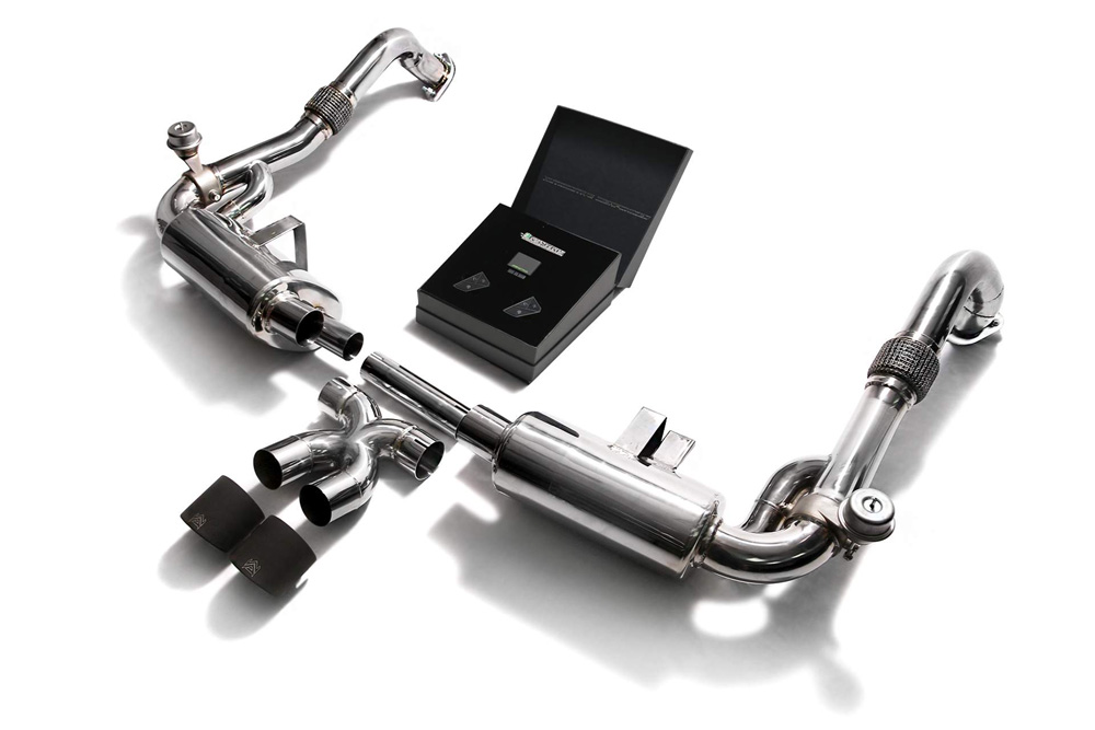 ARMYTRIX Stainless Steel Valvetronic Exhaust System Dual Matte Black Tips Porsche 718 Boxster | Cayman 17-20 - P82T1-DS24M