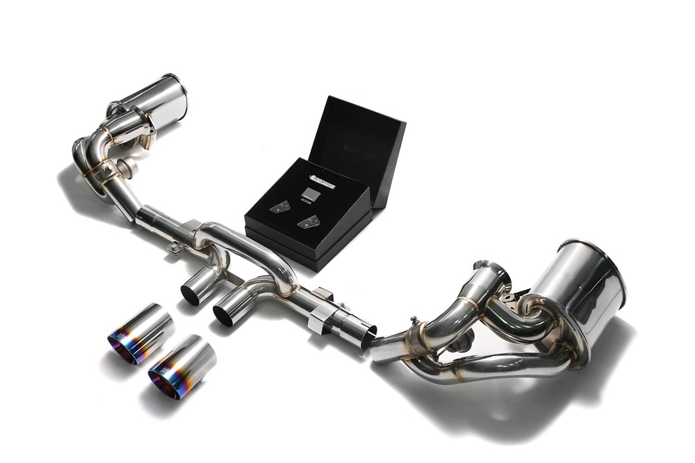ARMYTRIX Stainless Steel Valvetronic Exhaust System Dual Blue Coated Tips Porsche 991 GT3 | GT3 RS 14-19 - P91GS-DS38B