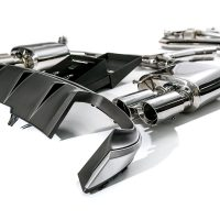 ARMYTRIX Stainless Steel Valvetronic Catback Exhaust System Quad Matte Black Tips Audi A4 2.0L TFSI B9 4WD 16-17