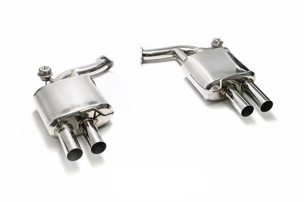 ARMYTRIX Stainless Steel Valvetronic Catback Exhaust System Quad Matte Black Tips Audi A4 2.0L TFSI B9 2WD 16-17