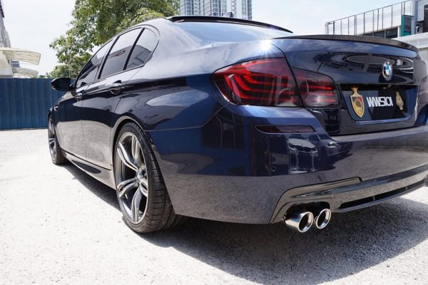 ARMYTRIX Stainless Steel Valvetronic Catback Exhaust System Quad Matte Black Tips BMW 520i | 528i F10 N20B20 11-17