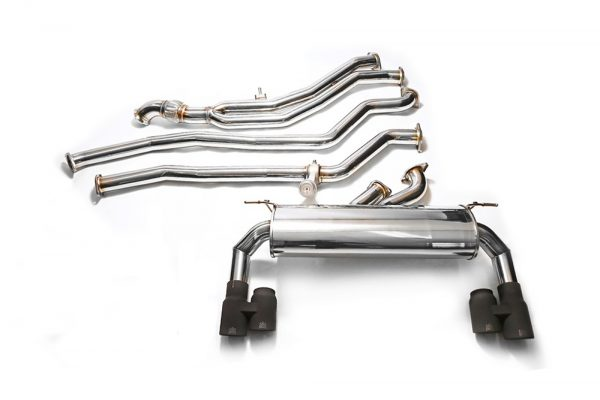 ARMYTRIX Stainless Steel Valvetronic Catback Exhaust System Quad Chrome Silver Tips BMW M135i | M235i F2x 12-15