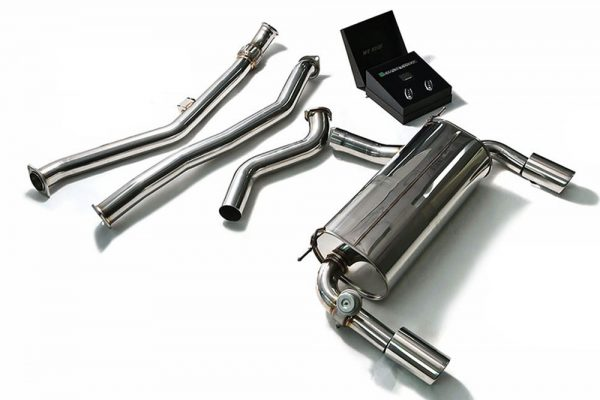 ARMYTRIX Stainless Steel Valvetronic Performance Catback Exhaust Quad Matte Black Tips BMW 435i Gran Coupe F36 15-16