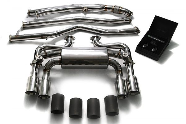 ARMYTRIX Stainless Steel Valvetronic Catback Exhaust System Quad Blue Coated Tips BMW M2 F87 16-17