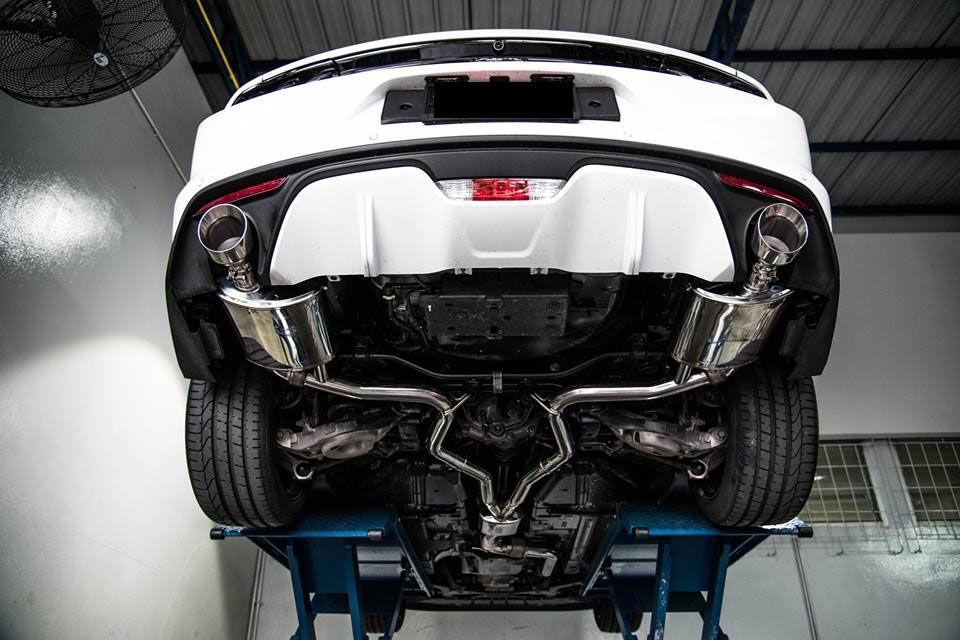 armytrix stainless steel valvetronic catback exhaust system dual matte black tips ford mustang