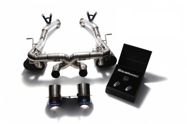 Armytrix Stainless Steel Valvetronic Exhaust System Twin Titanium Blue Tips Ferrari 458 Italia | Spyder 10-15