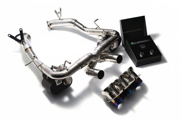 Armytrix Stainless Steel Valvetronic Exhaust System Triple Matte Black Tips Ferrari 458 Italia | Spyder 10-15