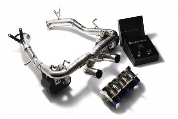 Armytrix Stainless Steel Valvetronic Exhaust System Triple Titanium Blue Tips Ferrari 458 Italia | Spyder 10-15