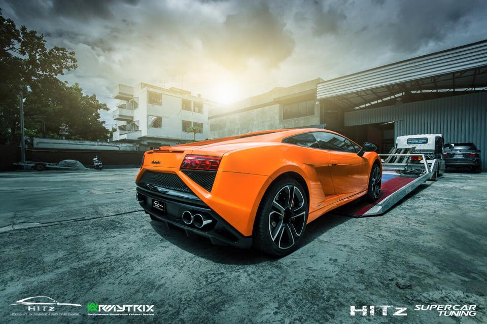 ARMYTRIX Titanium Valvetronic Performance Catback Exhaust Matte Black Tips Lamborghini  Gallardo 08 13