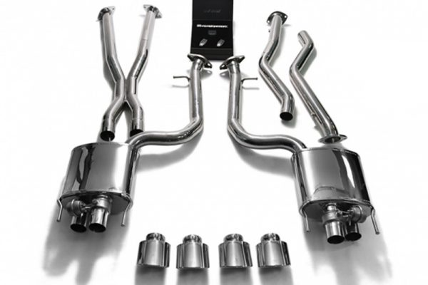 ARMYTRIX Valvetronic Stainless Steel Header Back Exhaust System Quad Chrome Silver Tips Lexus RC-F 5.0L V8 15-17
