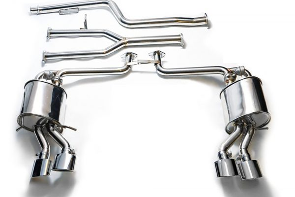 ARMYTRIX Stainless Steel Valvetronic Performance Catback Exhaust Quad Blue Chrome Silver Tips Mercedes Benz C-Class W204 12-15