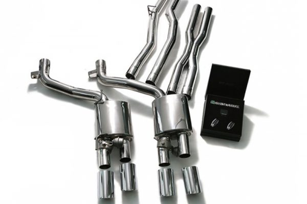 ARMYTRIX Stainless Steel Valvetronic Exhaust System Quad Matte Black Tips Maserati Ghibli M157 14-17