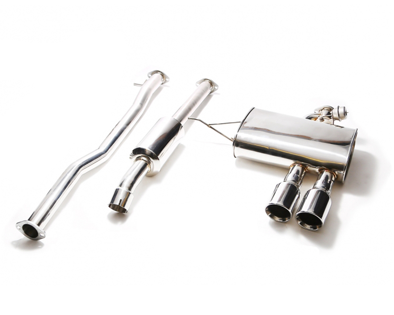 ARMYTRIX Stainless Steel Valvetronic Catback Exhaust System Dual Matte Black Tips Mini Cooper S F55 15-17