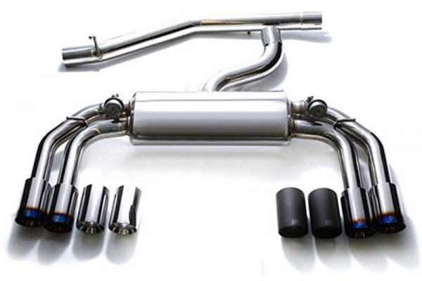 ARMYTRIX Stainless Steel Valvetronic Catback Exhaust System Quad Matte Black Tips Volkswagen Golf R MK7 14-17